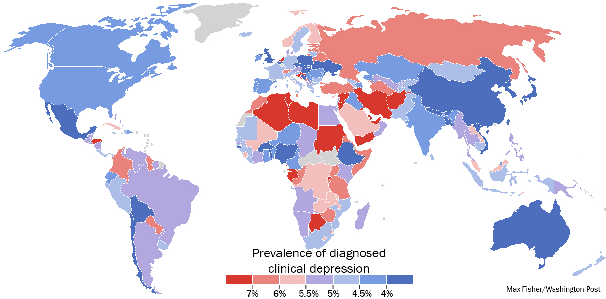 A stunning map of depression rates around the world madan a stunning map of depression rates around the world gumiabroncs Gallery